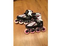 Girl's roller-blades size 12/13/1/2, pads and helmet - almost new