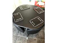 Black and chrome table and 4 chairs set