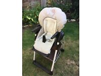 Adjustable padded high chair