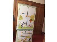 Fantastic children's designer bedroom furniture- wardrobe, chest of drawers, cupboard and toy box