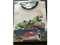 Avengers Pyjamas, Long-Sleeve and Long-Trouser - White/ Navy - £8 - Age 8 - Brand New with Tags