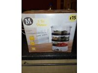 3 Tier Steamer from Morrisons good condition HAS NEVER BEEN USED IN THE BOX