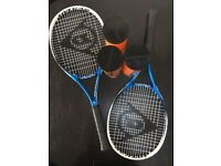2 Dunlop Tennis Rackets with 3 cans Head Radical balls