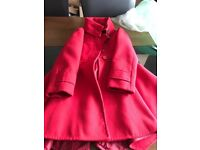Girls red coat. Aged 5-6.