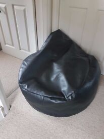 2 Faux Leather Black and Brown Bean Bag