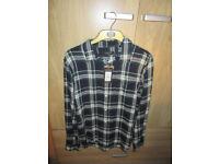 New Look Men's Navy & Green checked shirt M