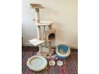 Cat bundle: climbing tree activity centre, litter tray, cat bed, bowls all unused and brand new