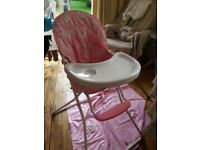X2 FREE HIGHCHAIRS x1 wooden x1 red kite pink