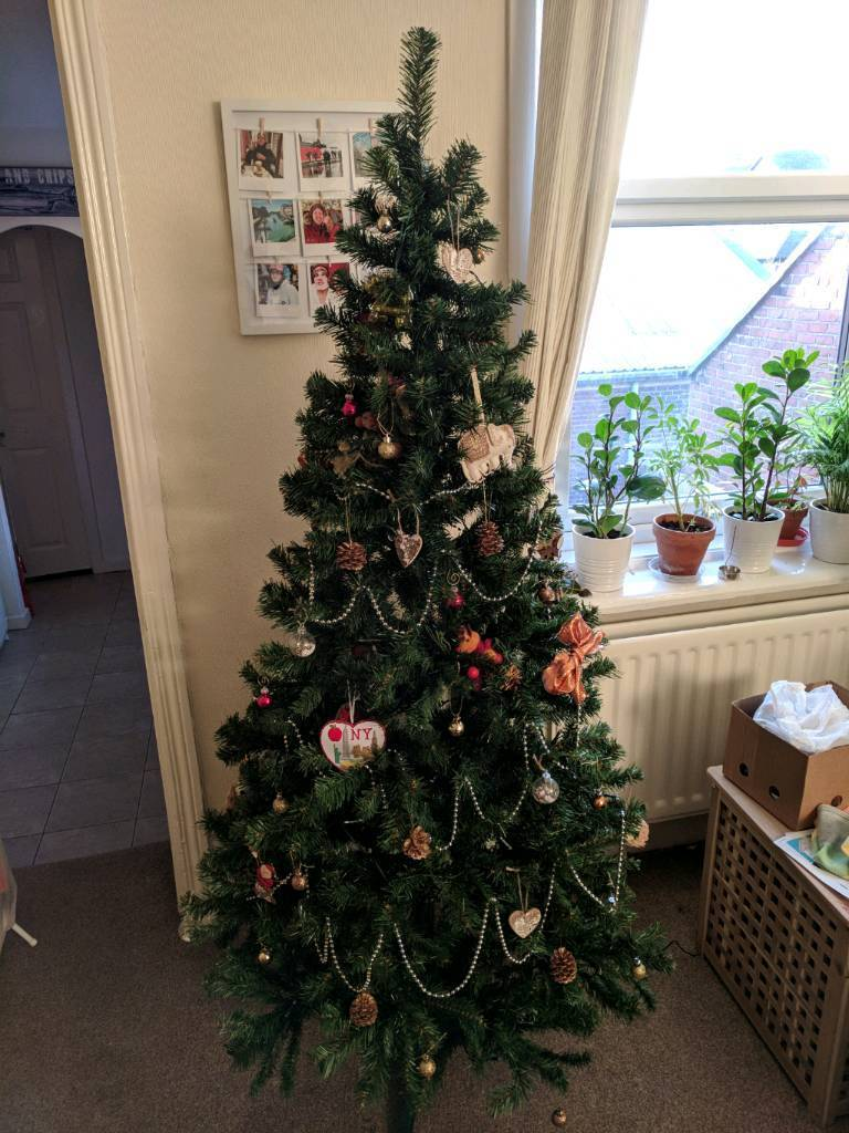 6 Ft Artificial Christmas Tree And Decorations Boxed In Newcastle