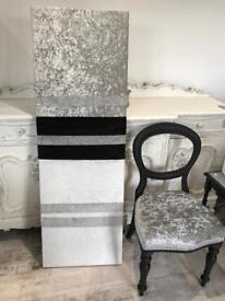 Black/white/silver crushed velvet canvas with diamanté detailing