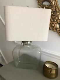 Beautiful large John Lewis Glass based linen shade table lamp