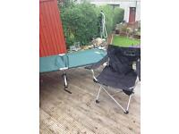 Folding camp bed and 2 folding chairs