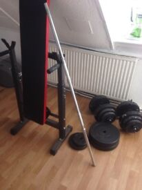 Free weights, dumbells barbell and bench for sale
