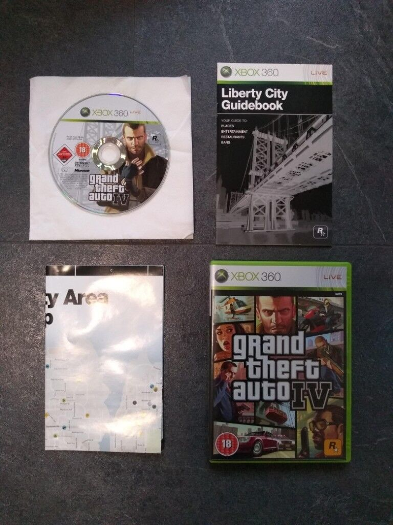 GTA 4 Xbox 360 (great condition with instructions & map) | in Rugby,  Warwickshire | Gumtree