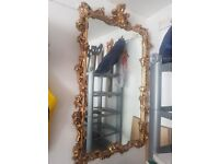 ITALIAN ANTIQUE BAROQUE GOLD MIRROR WITH STAND, WITH REAL MARBLE TOP - COLLECTION ONLY