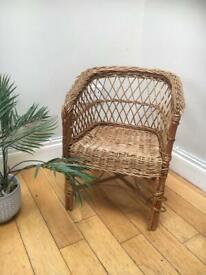MINI WICKER SEAT Childs Children Size BOHO Rattan Weave Woven Tiki Wooden