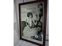 Decorative over printed Mirror with Art Nouveau 'Hairdressing '' Image. Wood Frame.