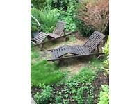 Pair of garden steamer chairs / sun loungers and cushions