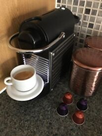Nespresso Pixie by Krups c/w milk frother in as new condition