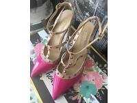 Pink valentine shoes studs