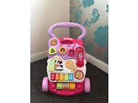 Baby girls pink interactive walker