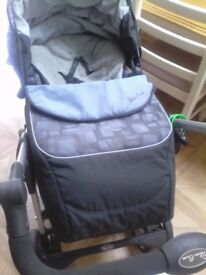 Silver Cross Grey and Blue 3 in 1 Pram Pushchair and Car Seat with Accessories