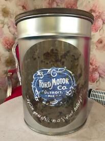 Retro Style Metal Ford Motor Co Stool/Storage Bin