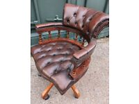 Vintage Brown / Tan Leather Chesterfield Style Swivel Captains Chair