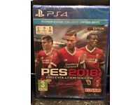 Brand new in packaging PS4 PES 2018 Premium edition with exclusive contest inside