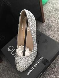 Silver glitter shoes size 4