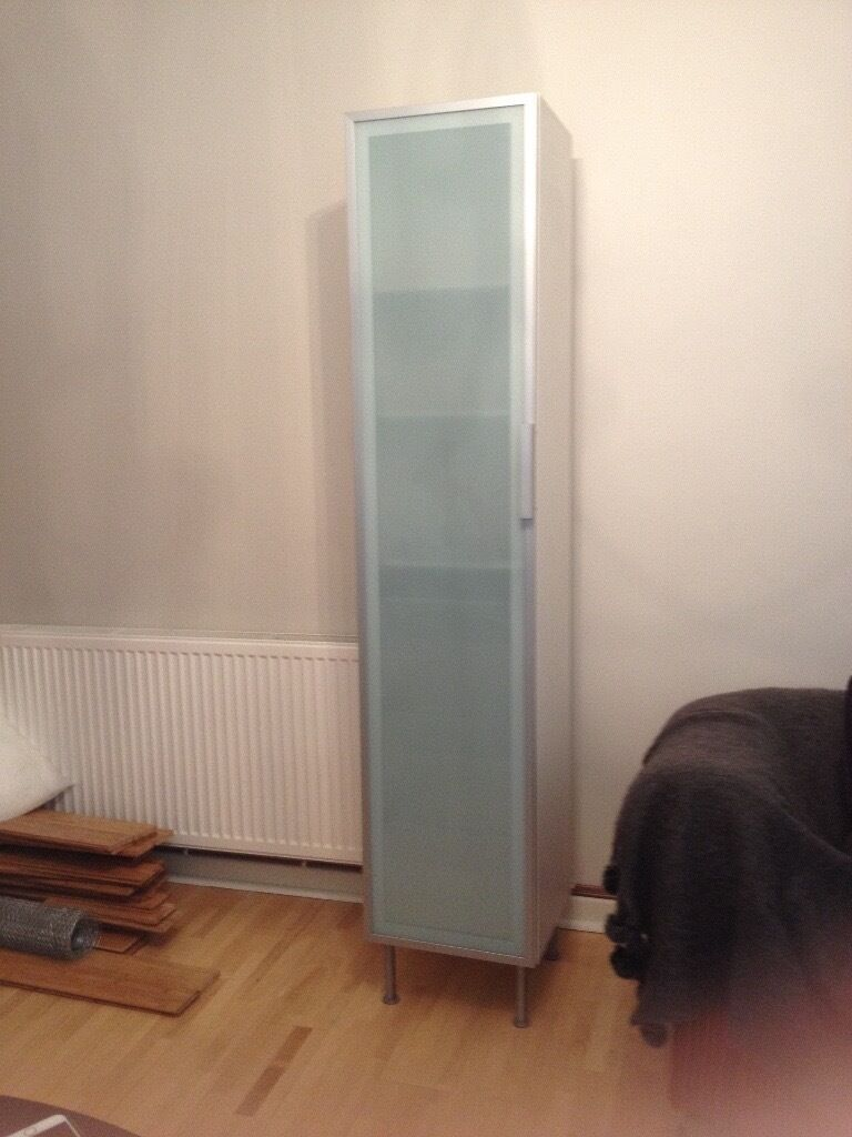 ikea tall bathroom storage cabinet white with opaque glass door