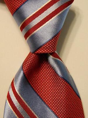 IKE BEHAR Mens 100% Silk Necktie USA Designer STRIPED Red/Blue/White Classic GUC