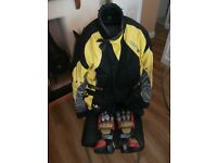 Motocycle Jacket, Akito Python with Armour & Gloves - VGC - Large, Warm & Dry