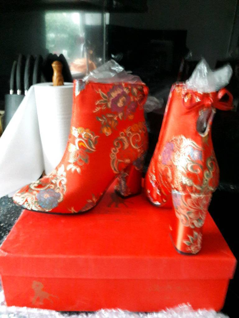 Chinese wedding ankle boots