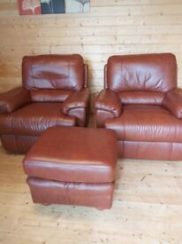 2 Leather Reclining Armchairs and Pouffe