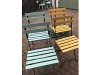 4 Vintage Metal/Wooden Garden Chairs