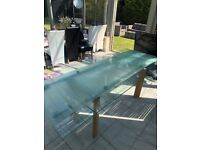 Extendable Glass Dining Table with 8 Chairs