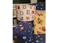 Vintage style childrens alphabet lampshade.nursery.lamp shade.apple,bird,elephant,lighthouse,cake