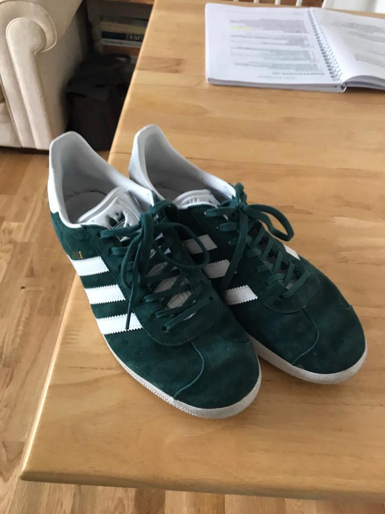 Adidas GazellesGreenUK8in Watford, HertfordshireGumtree - Basically brand new worn a couple timesReason for sale adidas shoes seem to be smaller or narrower. Worn a couple times but hurt my feet. But cant return as Ive worn.Cool shoes I just need a .5 largerRRP £79.95