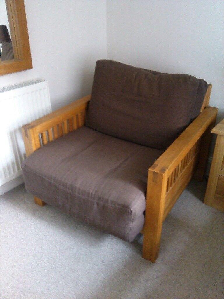 Futon Company Oke Single Seater Solid Oak Sofa Beds 2 Price Reduced