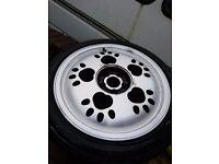 "Rare and Unusual 16x7"" 5x100 Paw Print Alloy Wheels, 16 Inch VW/ Audi/ SEAT/ Skoda/ Golf/ Polo etc"