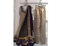 Brand new beige, navy and gold girls Indian outfit. Size 22 (approx 2 - 3 years)