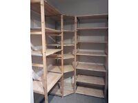 Pair of Ikea IVAR shelving units, plus corner shelves