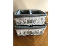 White wicker storage baskets