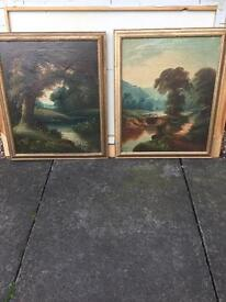 Quality pair of Oil On Canvasses of Evening Landscapes, signed