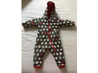 Hatley snowsuit grey red and white with stars age 18-24 months