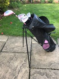 Set of Girls Golf Clubs with Bag & Stand