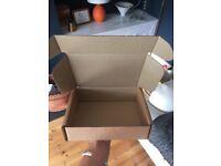 Small flat pack postal boxes 20cm x 15cm x 6cm