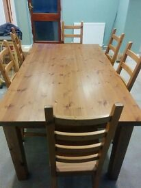 Solid pine 6ft dining table and six chairs