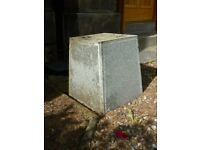 Grey Granite Square Support, Ideal as a Seat or Plant Container Display, H:45cm x Diam:32cm
